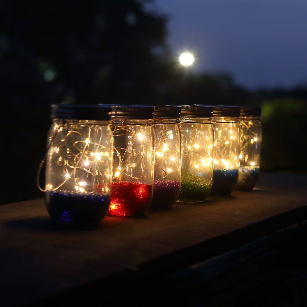Solar-powered Plastic Jar Lights (Jar & Handle Included),Solar Lanterns