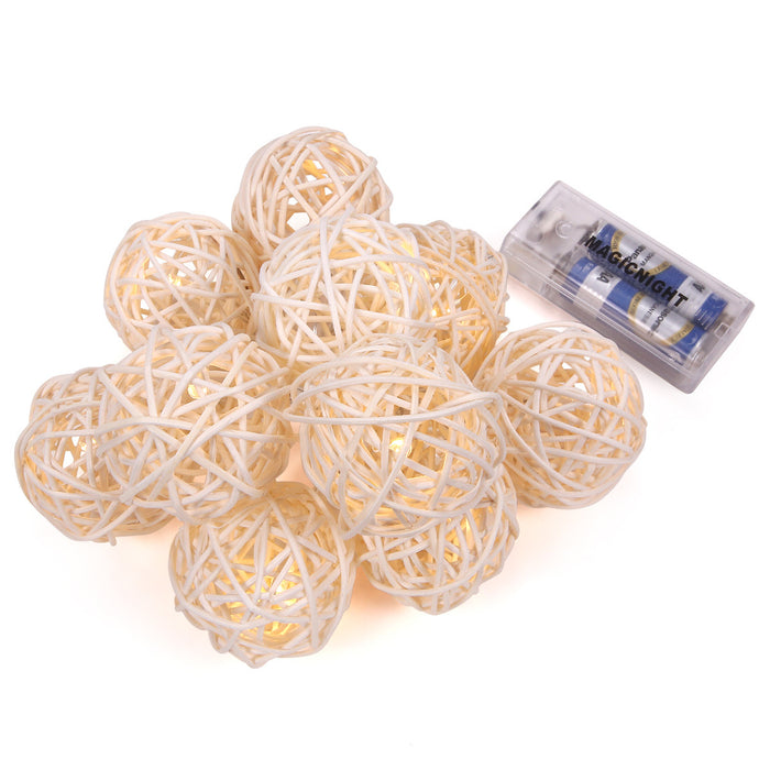 Magicnight 3Ft 10LED Rattan Ball String Lights Battery Operated - MAGICNIGHT