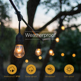 Waterproof LED Outdoor Solar String Lights - 2W Vintage Edison Bulbs 27 Ft Heavy Duty Patio Lights