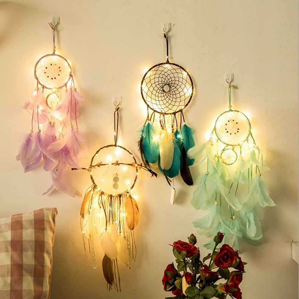 Dream Catcher Dreamcatcher 2 Meter 20LED Lighting Girl Room Bell Bedroom Romantic Hanging Decoration - MAGICNIGHT