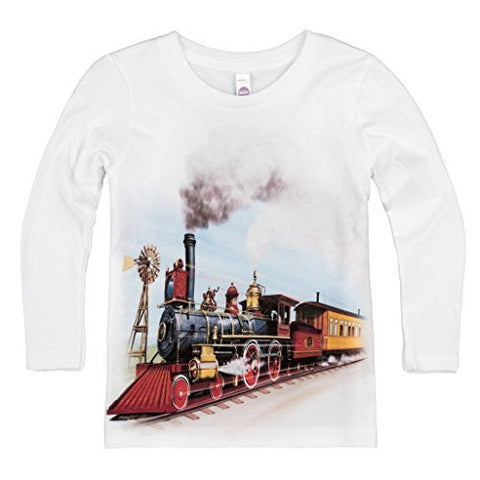 Shirts That Go Little Boys' Long Sleeve Old West Steam Train T-Shirt
