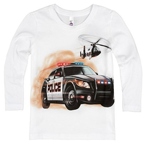 Shirts That Go Little Boys' Long Sleeve Police Car and Helicopter T-Shirt