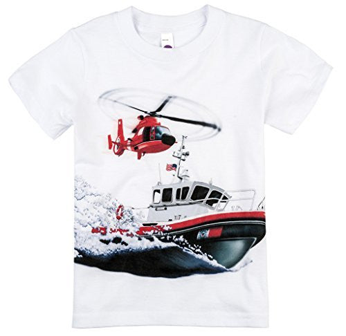 Shirts That Go Little Boys' Coast Guard Helicopter & Boat T-Shirt