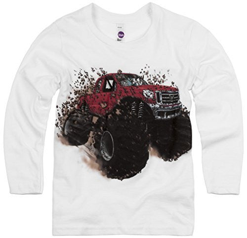 Shirts That Go Little Boys' Long Sleeve Big Red Monster Truck T-Shirt