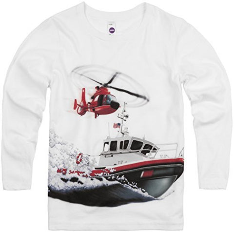 Shirts That Go Little Boys' Long Sleeve Boat & Helicopter T-Shirt