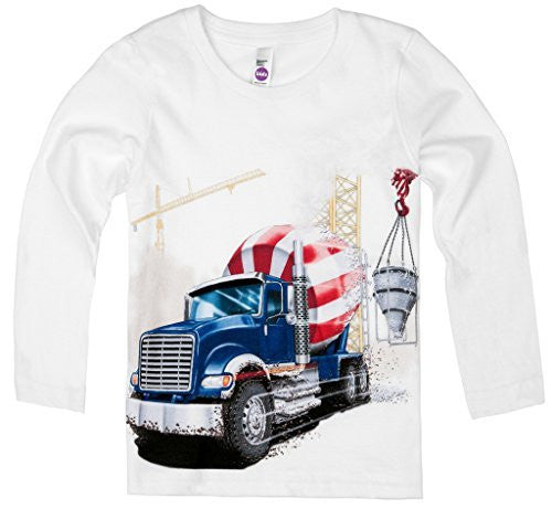 Shirts That Go Little Boys' Long Sleeve Big Blue Cement Mixer Truck T-Shirt