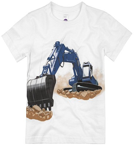 Shirts That Go Little Boys' Blue Excavator T-Shirt