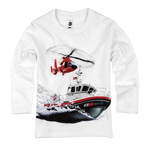 Shirts That Go Little Boys' Long Sleeve Helicopter & Boat T-Shirt