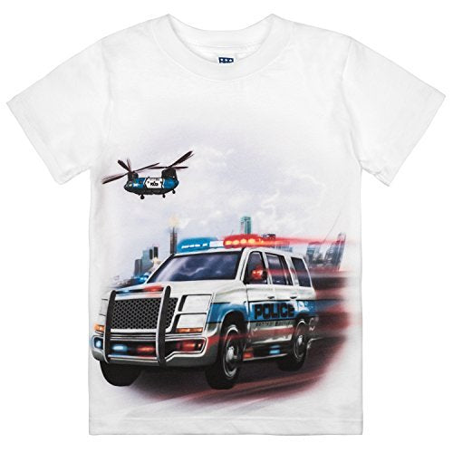 Shirts That Go Little Boys' Police SUV Truck & Helicopter T-Shirt
