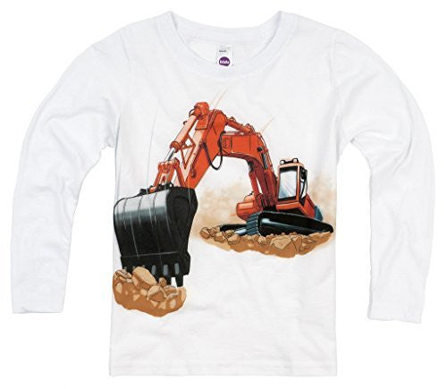 Shirts That Go Little Boys' Long Sleeve Orange Excavator T-Shirt