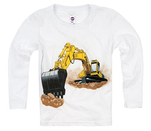 Shirts That Go Little Boys' Long Sleeve Yellow Excavator T-Shirt