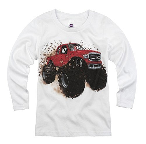 Shirts That Go Little Boys' Long Sleeve Red Monster Truck T-Shirt