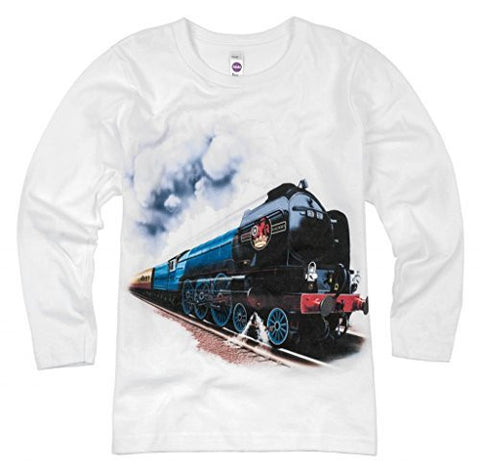 Shirts That Go Little Boys' British Railroad Long Sleeve Train T-Shirt