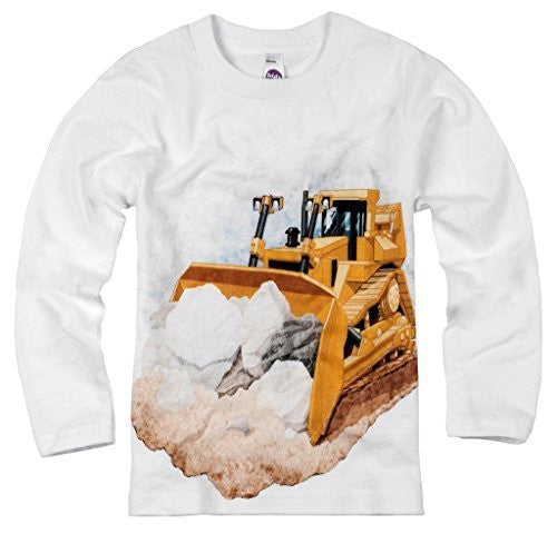 Shirts That Go Little Boys' Long Sleeve Bulldozer T-Shirt