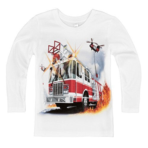 Shirts That Go Little Boys' Long Sleeve Fire Truck & Helicopters T-Shirt