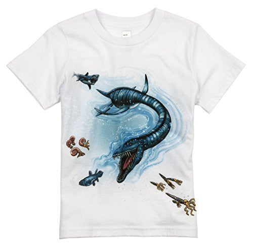 Shirts That Go Little Boys' Megalodon and Plesiosaurus Dinosaur T-Shirt