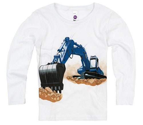 Shirts That Go Little Boys' Long Sleeve Blue Excavator T-Shirt