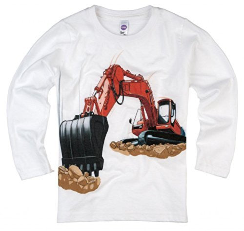 Shirts That Go Little Boys' Long Sleeve Excavator T-Shirt