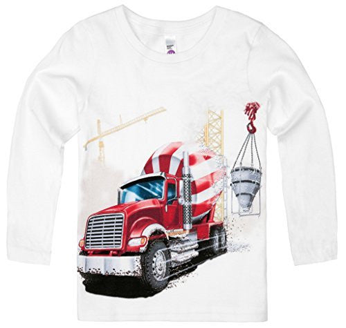 Shirts That Go Little Boys' Long Sleeve Big Red Cement Mixer Truck T-Shirt