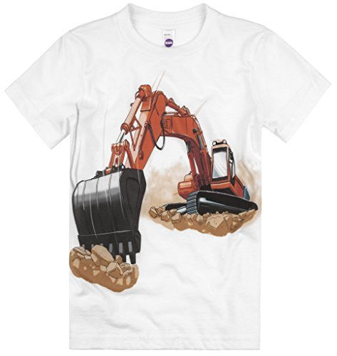 Shirts That Go Little Boys' Orange Excavator T-Shirt