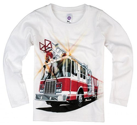 Shirts That Go Little Boys' Long Sleeve Fire Truck T-Shirt