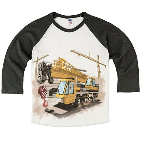 Shirts That Go Little Boys' Construction Cranes & Truck Raglan T-Shirt
