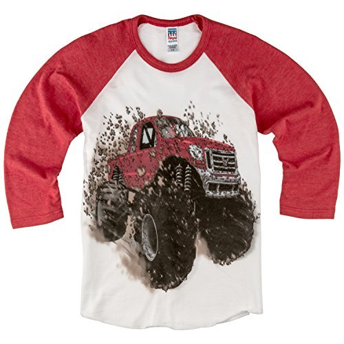 Shirts That Go Little Boys' Big Red Monster Truck Raglan T-Shirt