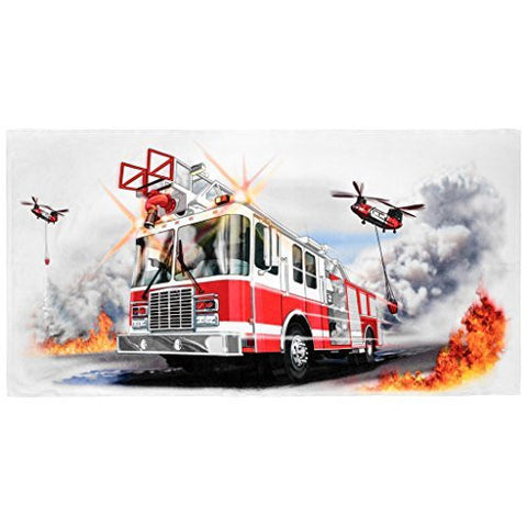Shirts That Go Little Boys Fire Truck & Helicopters Truck Bath and Beach Towel