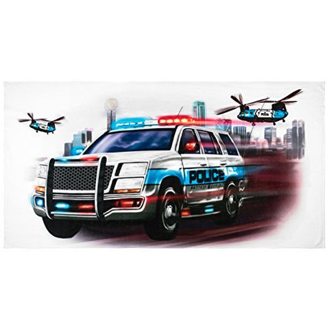 Shirts That Go Little Police SUV Truck & Helicopters Bath and Beach Towel
