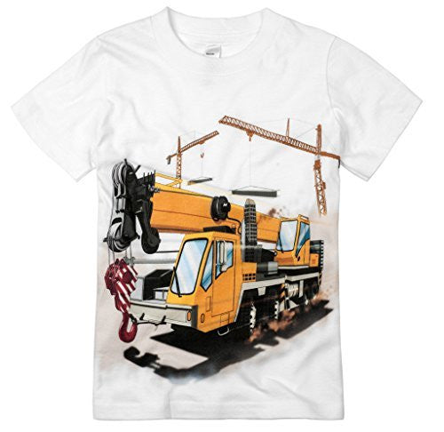 Shirts That Go Little Boys' Construction Crane Truck T-Shirt