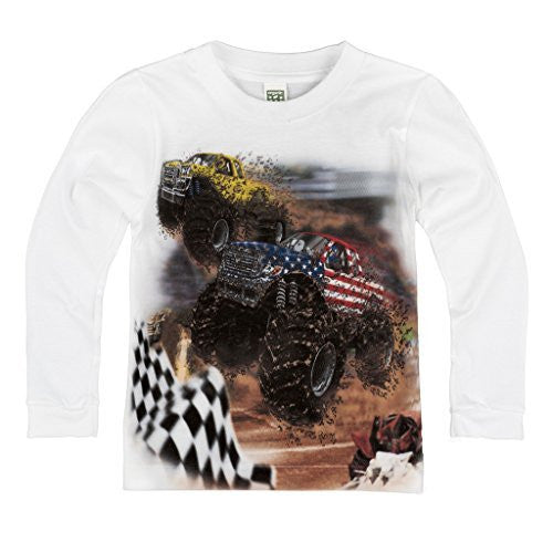 Shirts That Go Little Boys' Long Sleeve Big Monster Truck Racing T-Shirt