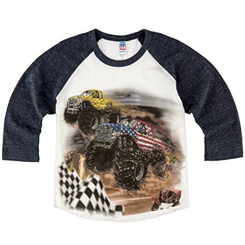 Shirts That Go Little Boys' Monster Trucks Jump Raglan T-Shirt