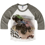 Shirts That Go Little Boys' Monster Trucks Racing Raglan T-Shirt