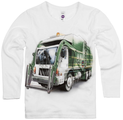 Shirts That Go Little Boys' Long Sleeve City Garbage Truck T-Shirt