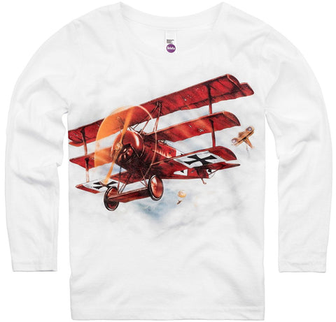 Shirts That Go Little Boys' Long Sleeve Red Baron Airplane T-Shirt