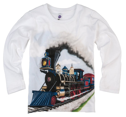 Shirts That Go Little Boys' Long Sleeve Steam Train T-Shirt