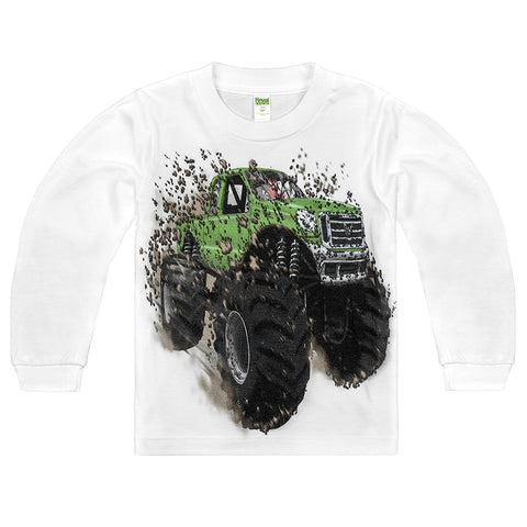 Shirts That Go Little Boys' Long Sleeve Big Green Monster Truck T-Shirt