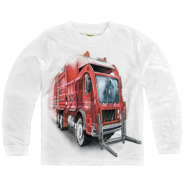 Shirts That Go Little Boys' Long Sleeve Big Red Garbage Truck T-Shirt