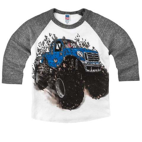 Shirts That Go Little Boys' Big Blue Monster Truck Raglan T-Shirt