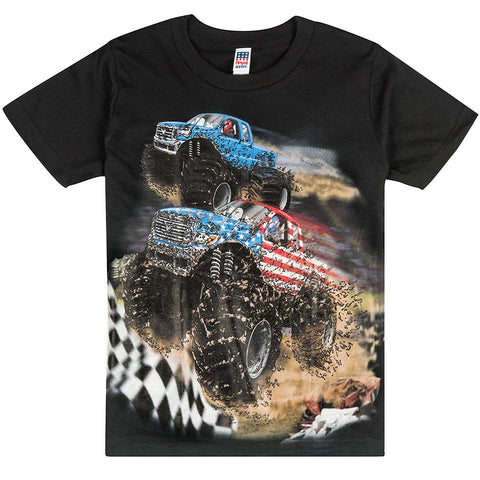 Shirts That Go Little Boys' Go USA Monster Trucks Racing T-Shirt