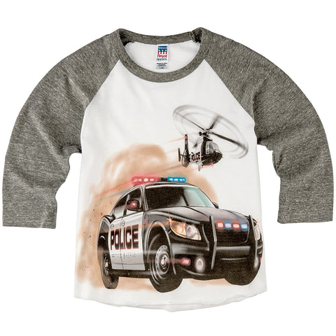 Shirts That Go Little Boys' Police Car and Helicopter Raglan T-Shirt