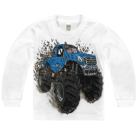 Shirts That Go Little Boys' Long Sleeve Big Blue Monster Truck T-Shirt
