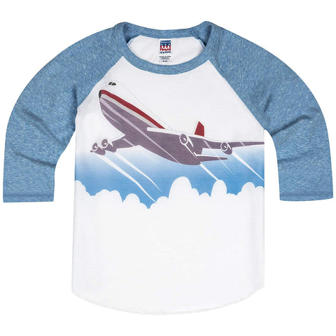 Shirts That Go Little Boys' Jet Airplane Raglan T-Shirt