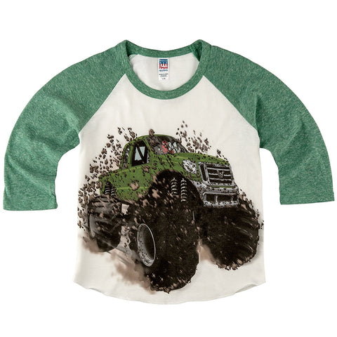 Shirts That Go Little Boys' Big Green Monster Truck Raglan T-Shirt
