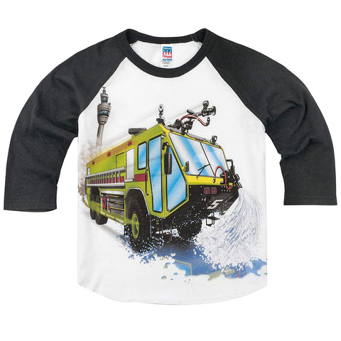 Shirts That Go Little Boys' Big Airport Fire Truck Raglan T-Shirt