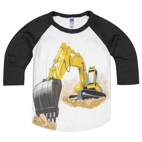 Shirts That Go Little Boys' Yellow Excavator Raglan T-Shirt