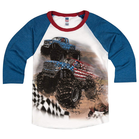 Shirts That Go Little Boys' Go USA Monster Trucks Racing Raglan T-Shirt