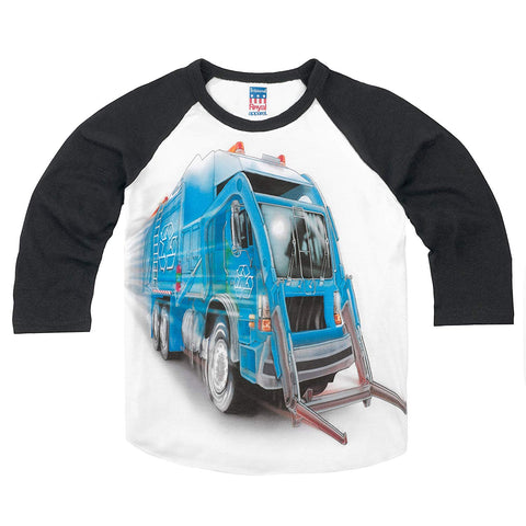Shirts That Go Little Boys' Big Blue Garbage Truck Raglan T-Shirt