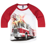 Shirts That Go Little Boys' Big Red Fire Truck Raglan T-Shirt