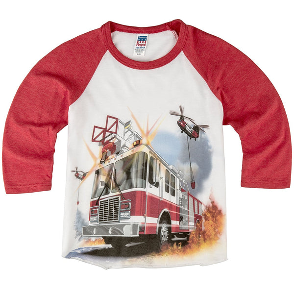 Shirts That Go Little Boys' Fire Truck & Helicopters Raglan T-Shirt